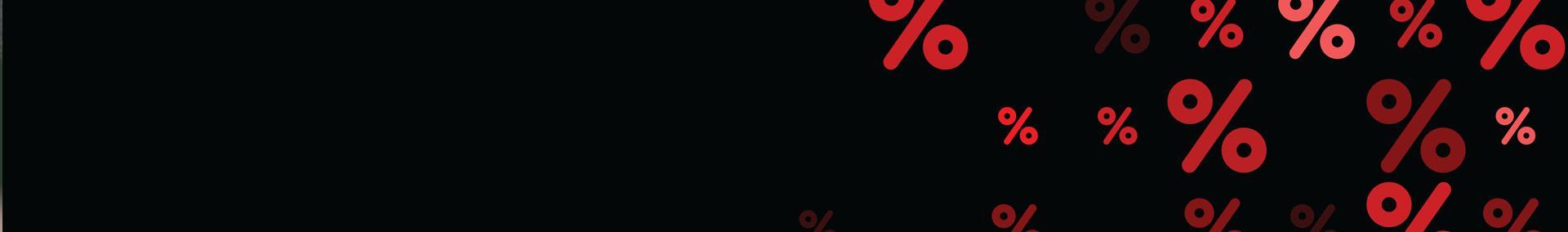 Znaki procentowe na czarnym tle